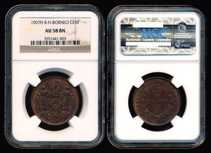 19: British North Borneo Cent 1907H NGC AU58BN