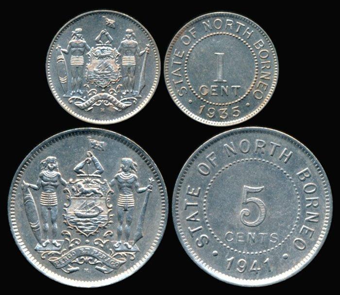 20: 2 British North Borneo 1c 1935H 5c 1941H