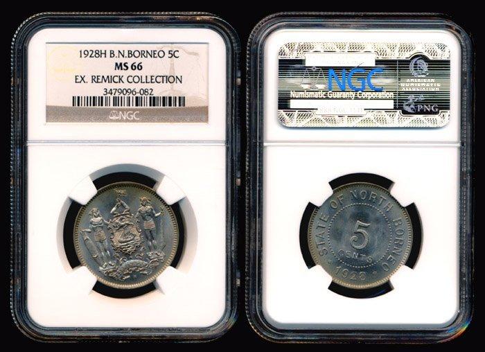 21: British North Borneo 5 Cents 1928H NGC MS66
