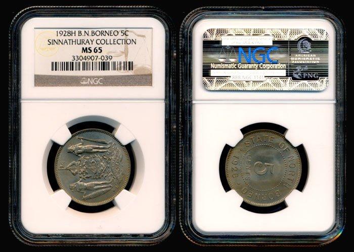 22: British North Borneo 5 Cents 1928H NGC MS65