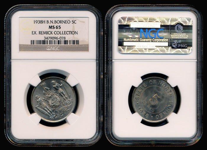 23: British North Borneo 5 Cents 1938H NGC MS65