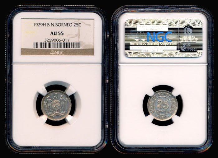 24: British North Borneo 25 Cents 1929H NGC AU55