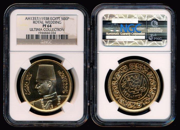 79: Egypt 500 Piastres 1938 gold NGC PF64