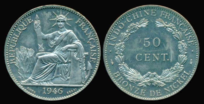 95: French Indo-China 50 Cents 1946 piedfort AU