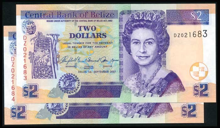 Belize $2 QEII 2007 consecutive pair