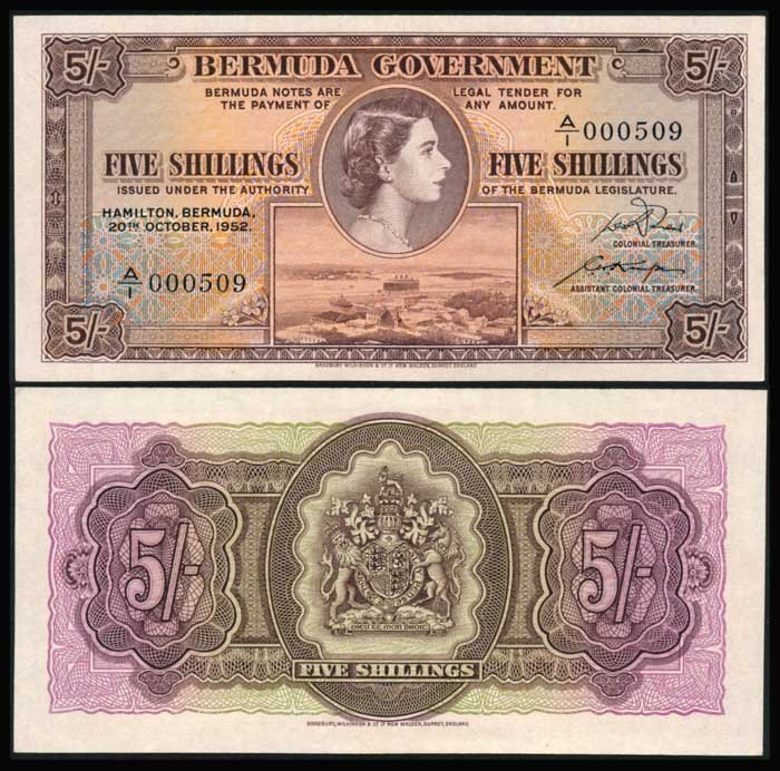 Bermuda  5 Shillings 1952 QEII P18a AU