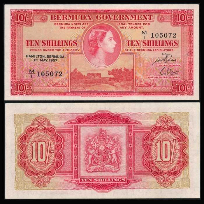 Bermuda 10 Shillings 1957 QEII P19b AU
