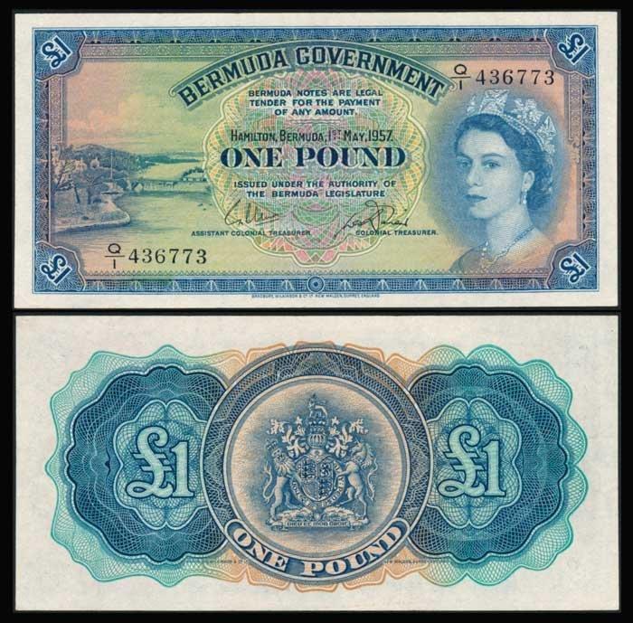 Bermuda 1 Pound 1957 QEII P20b UNC