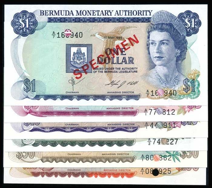 6 Bermuda $1 to $100 1978-84 QEII specimens
