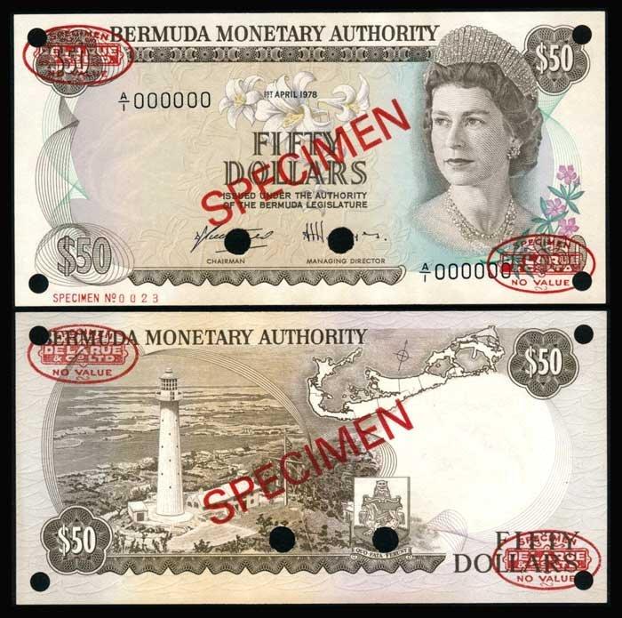 Bermuda $50 1978 QEII specimen UNC