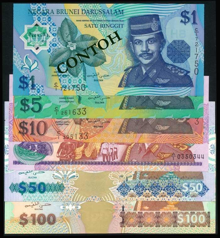 6 Brunei $1-$100 1992-96 Bolkiah P21-26