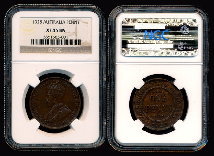 Australia KGV Penny 1925 NGC XF45BN