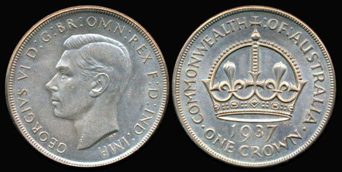 Australia KGVI Crown 1937m AU-UNC