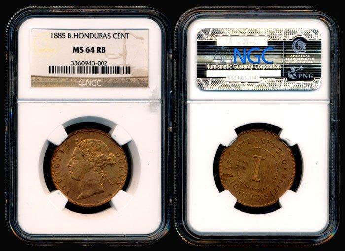 British Honduras QV Cent 1885 NGC MS64RB