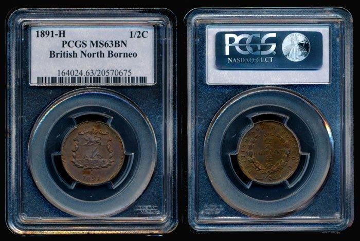 British North Borneo 1/2c 1891H PCGS MS63BN