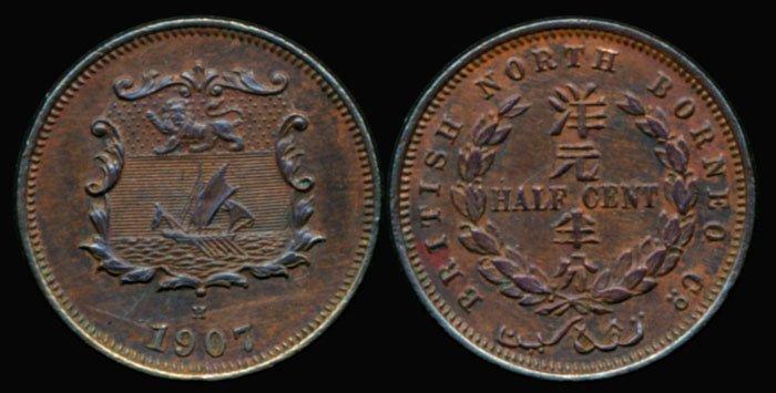 British North Borneo 1/2c 1907H GEF-EF