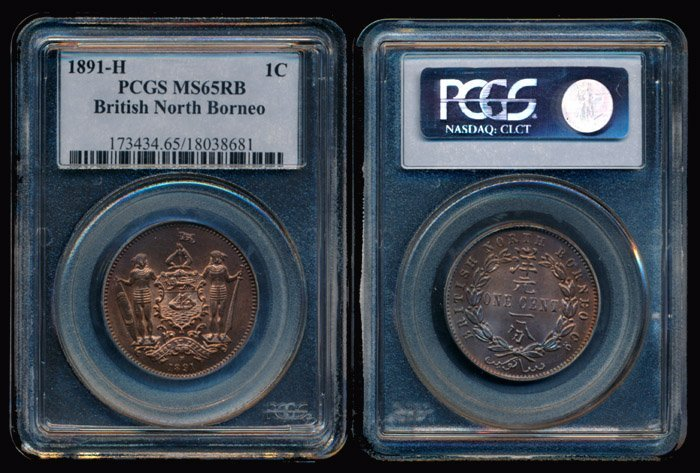 British North Borneo 1c 1891H PCGS MS65RB
