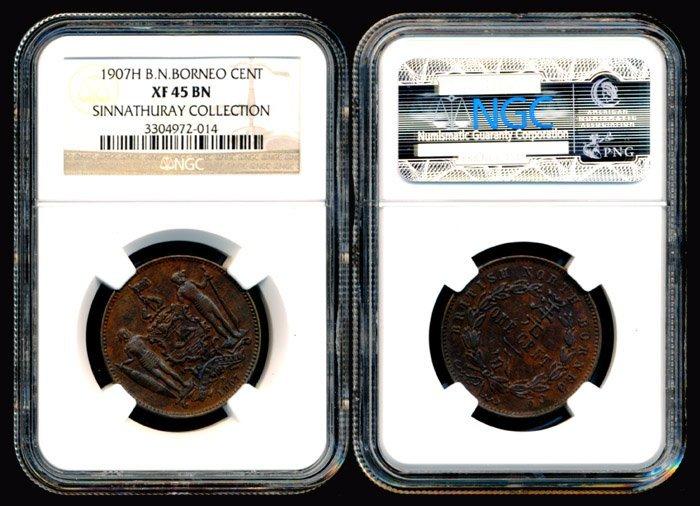 British North Borneo 1c 1907H NGC XF45BN