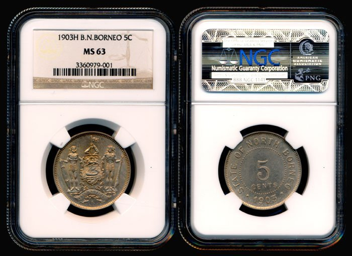 British North Borneo 5 Cents 1903H NGC MS63