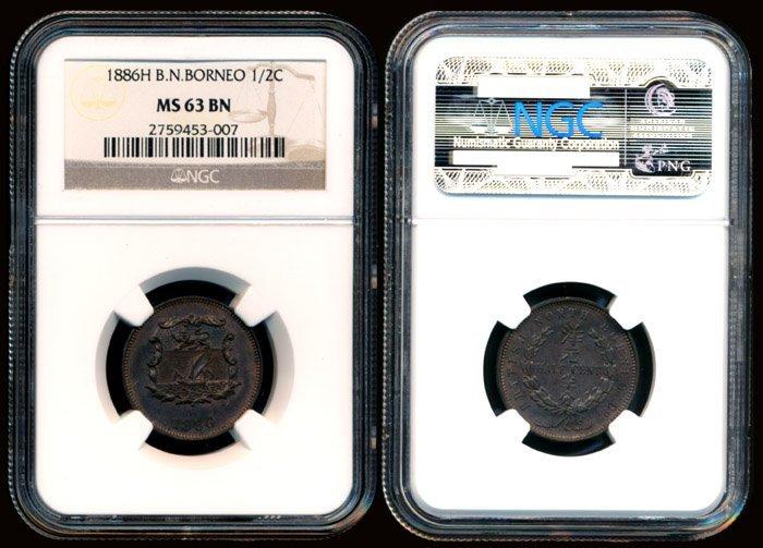 British North Borneo 1/2c 1886H NGC MS63BN