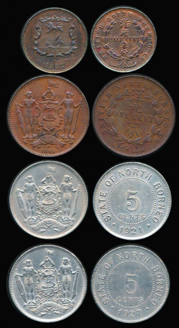 4 British North Borneo 1/2c 1c 5c