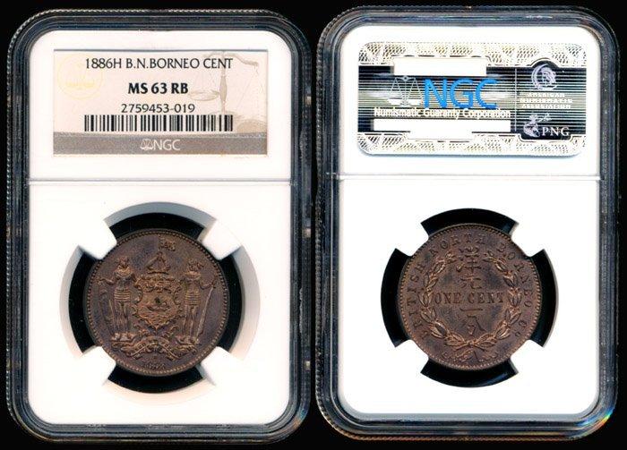 British North Borneo Cent 1886H NGC MS63RB