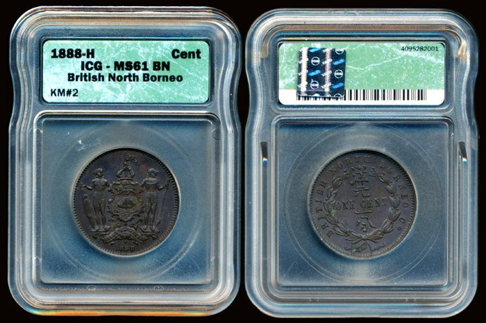 British North Borneo Cent 1888H ICG MS61BN