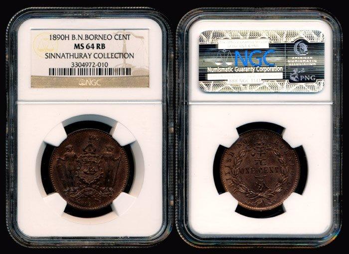 British North Borneo Cent 1890H NGC MS64RB