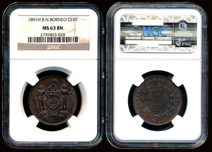 British North Borneo Cent 1891H NGC MS63BN
