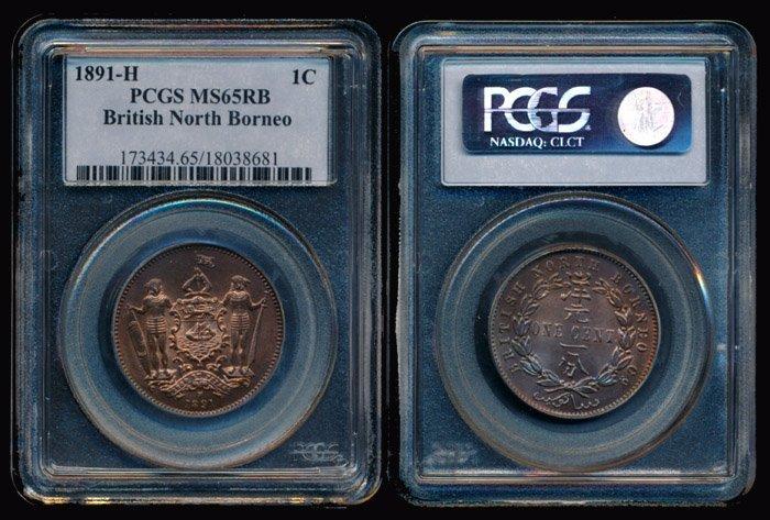 British North Borneo Cent 1891H PCGS MS65RB