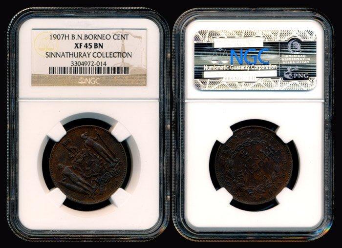 British North Borneo Cent 1907H NGC XF45BN