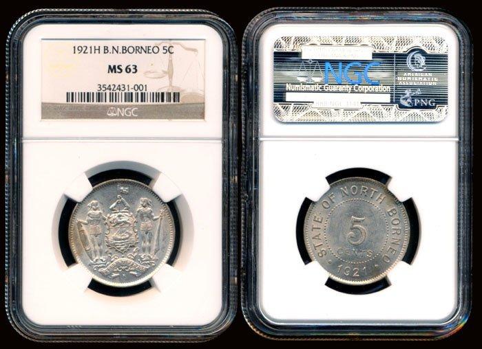 British North Borneo 5 Cents 1921H NGC MS63