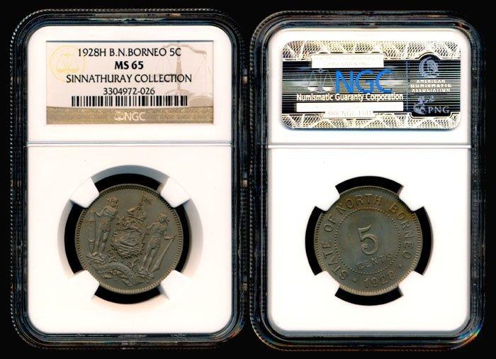 British North Borneo 5 Cents 1928H NGC MS65