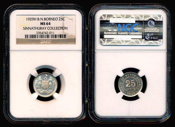 British North Borneo 25 Cents 1929H NGC MS64