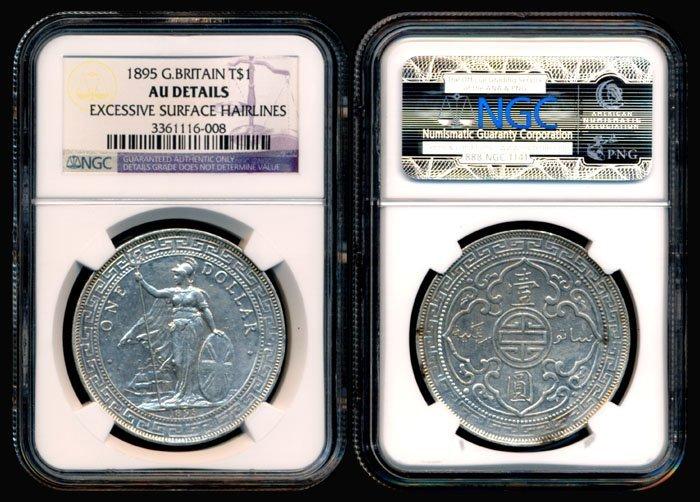 British Trade Dollars 1895 NGC AU Details