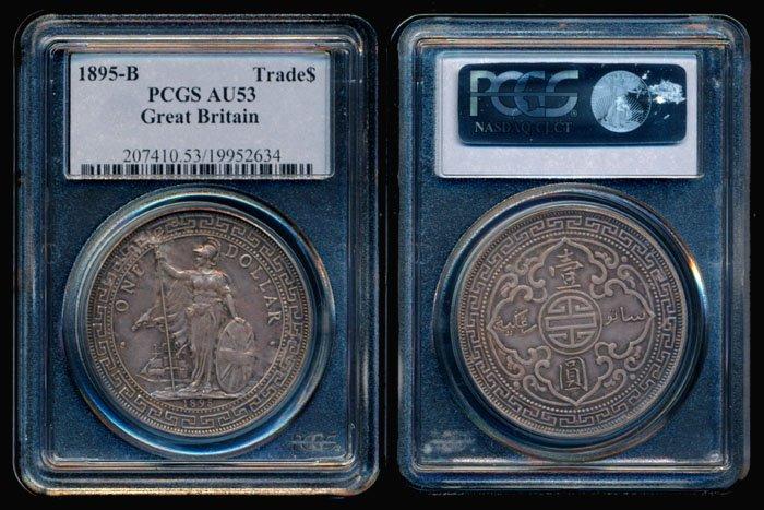 British Trade Dollars 1895B PCGS AU53