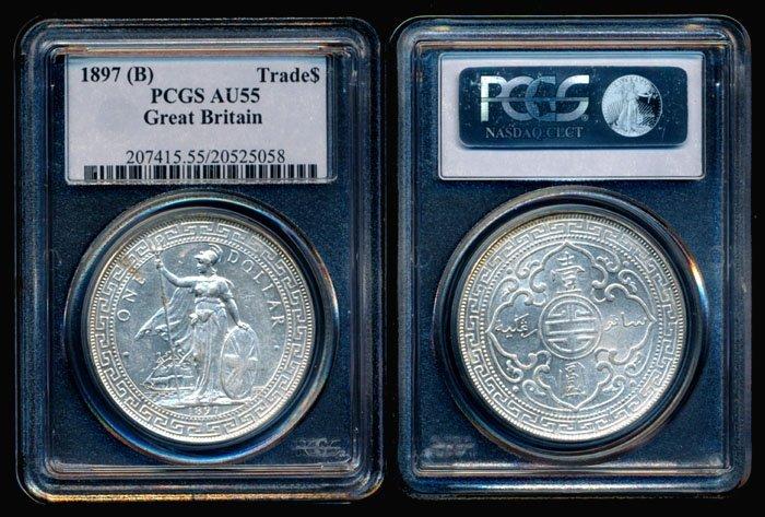 British Trade Dollars 1897B PCGS AU55