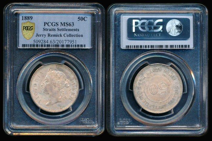 Straits Settlements QV 50c 1889 PCGS MS63