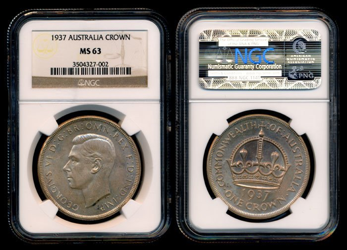 Australia George VI Crown 1937 NGC MS63