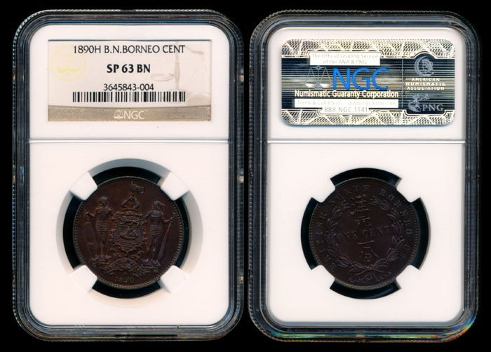 British North Borneo 1c 1890H NGC SP63BN
