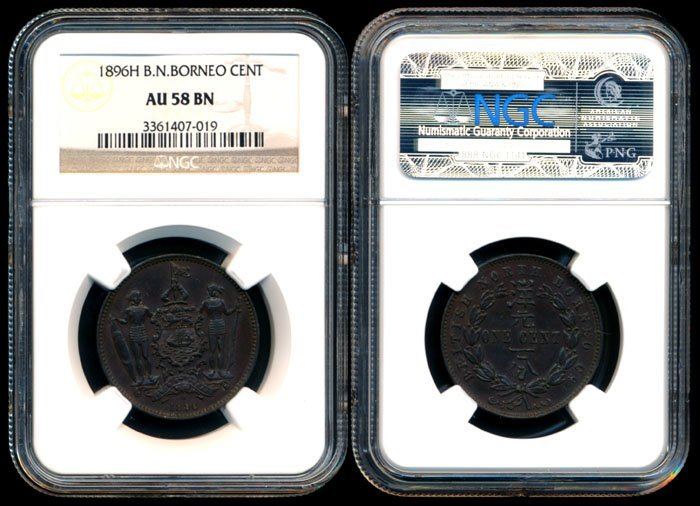 British North Borneo 1c 1896H NGC AU58BN