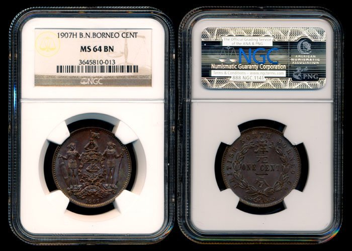 British North Borneo 1c 1907H NGC MS64BN