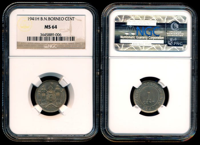 British North Borneo 1c 1941H NGC MS64