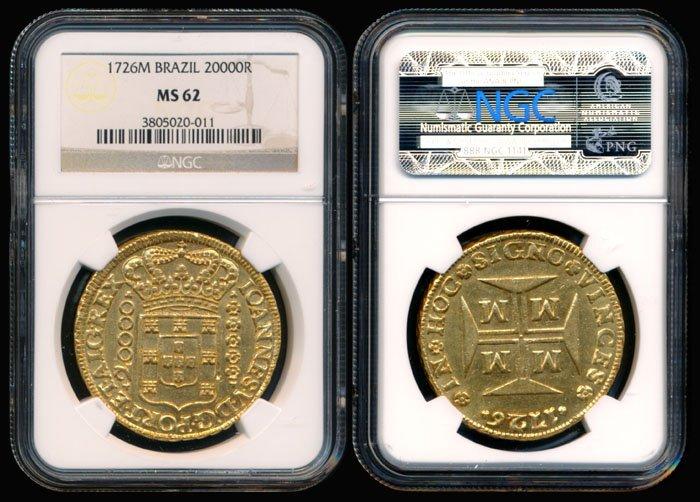 Brazil 20000 Reis 1726M gold NGC MS62