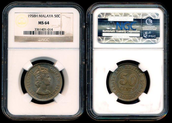 Malaya Br Borneo QEII 50c 1958H NGC MS64