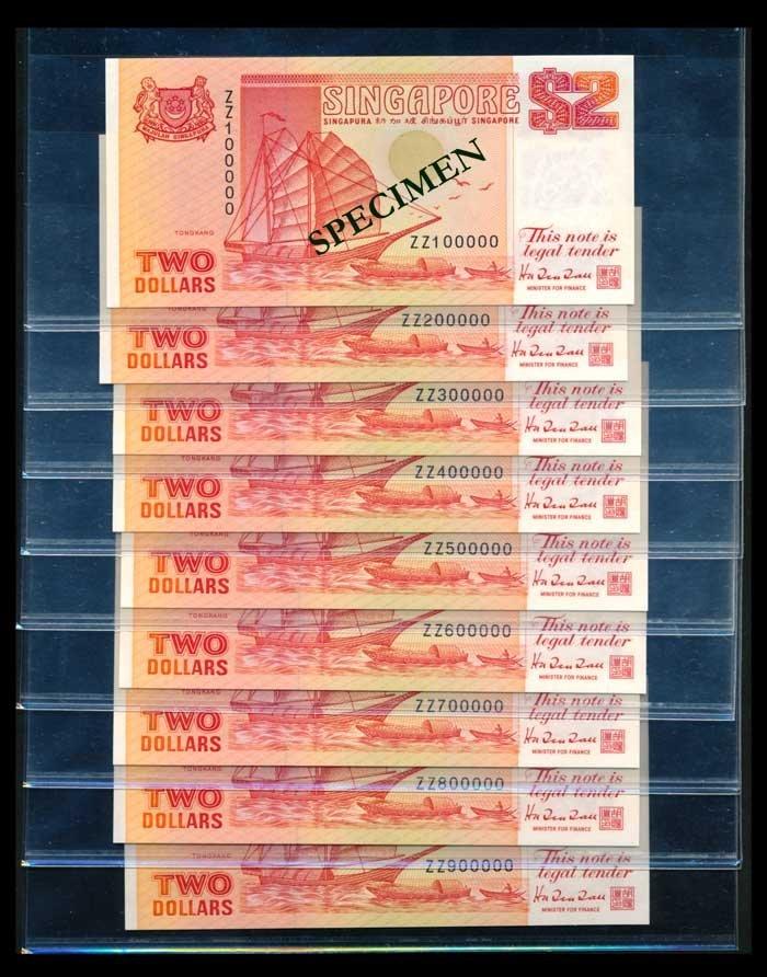 9 Singapore $2 1990 ship orange replacement