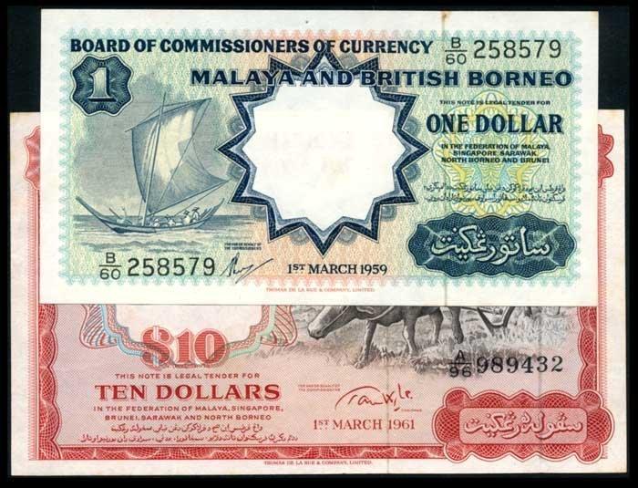 Malaya Br Borneo $1 1959 $10 1961 buffalo