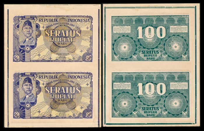 Indonesia 100Rupiah 1945-49 uncut sheet of 2