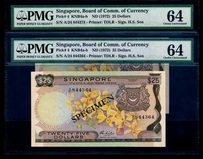 Singapore $25x10 1972 PMG Choice UNC64