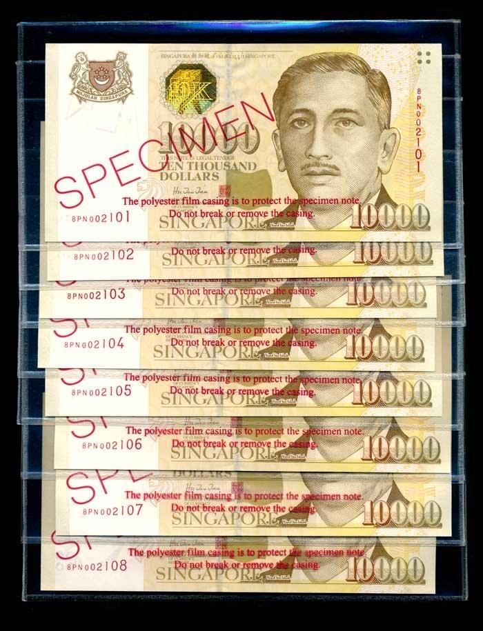 Singapore $10000x8 1999 HTT specimens